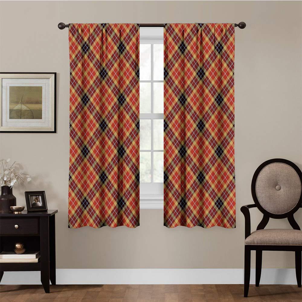 Waterproof Window Curtain 55 W x 39 L June Gissing Waterproof Window Curtain,Seamless Plaid Design Image