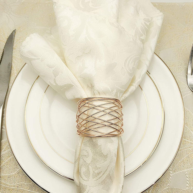 Or,12pcs Souarts Lot de 12 Ronds de Serviettes Anneau en Fil de Fer Barbel/é Anneaux pour Serviettes de Mariage Serviette Boucle D/écoration de Table Thanksgiving P/âques