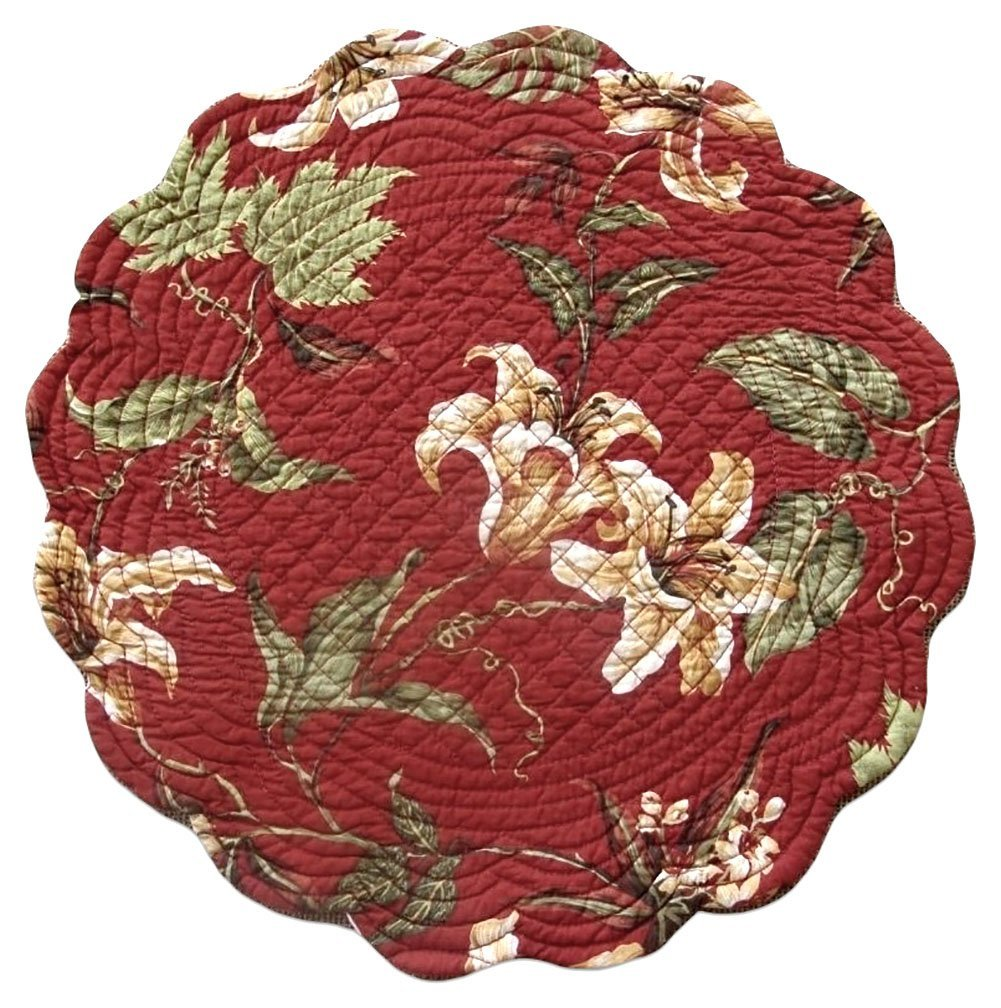 "Unique & Custom {17'' Inch} Single Pack of Round ""Non-Slip Grip Texture"" Large Reversible Table Placemat Made of Washable 100% Cotton w/ Quilted Rustic Lily Country Design [Colorful Red & Tan]"