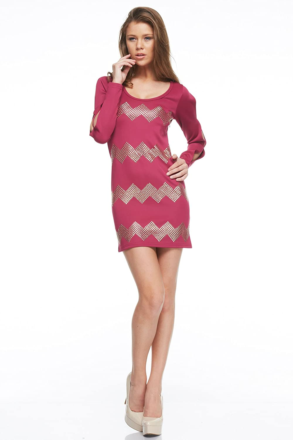 Black Collection Long Open Sleeve Fitted Cocktail Dress with Studded Zigzag Design