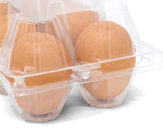 Amazon Com 50 Pack Of Egg Cartons No Eggs Bulk Clear Plastic Egg Cartons Only 50 Pack Wholesale Chicken Egg Cartons For Farmers Agricultural Industries And More By American Heritage Industries Kitchen