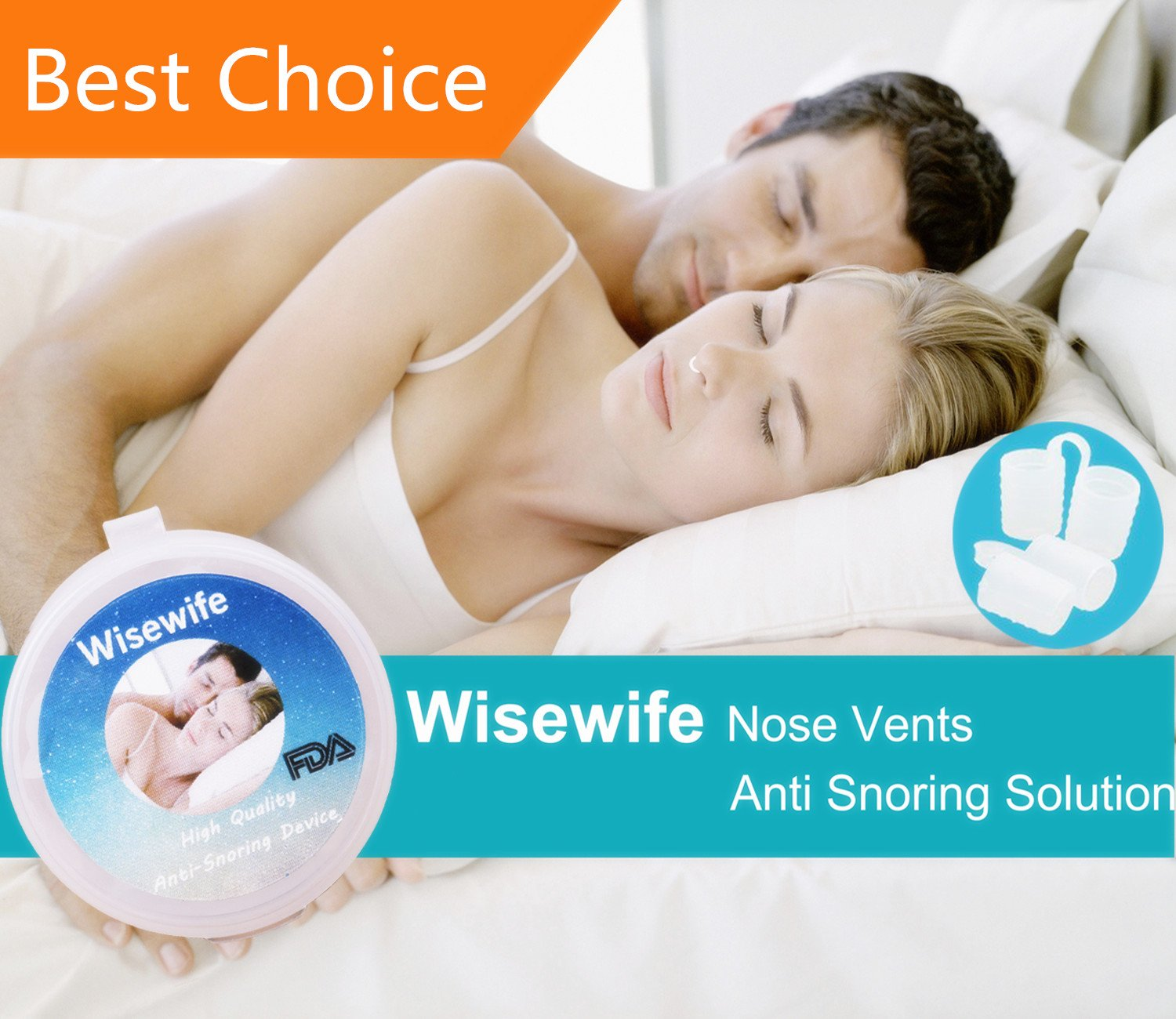 Anti Snoring Nose Vents - Set of 4 - Snore reliver for Men and Women - Ease Breathing and snoring - Includes A Travel Case by Wisewife