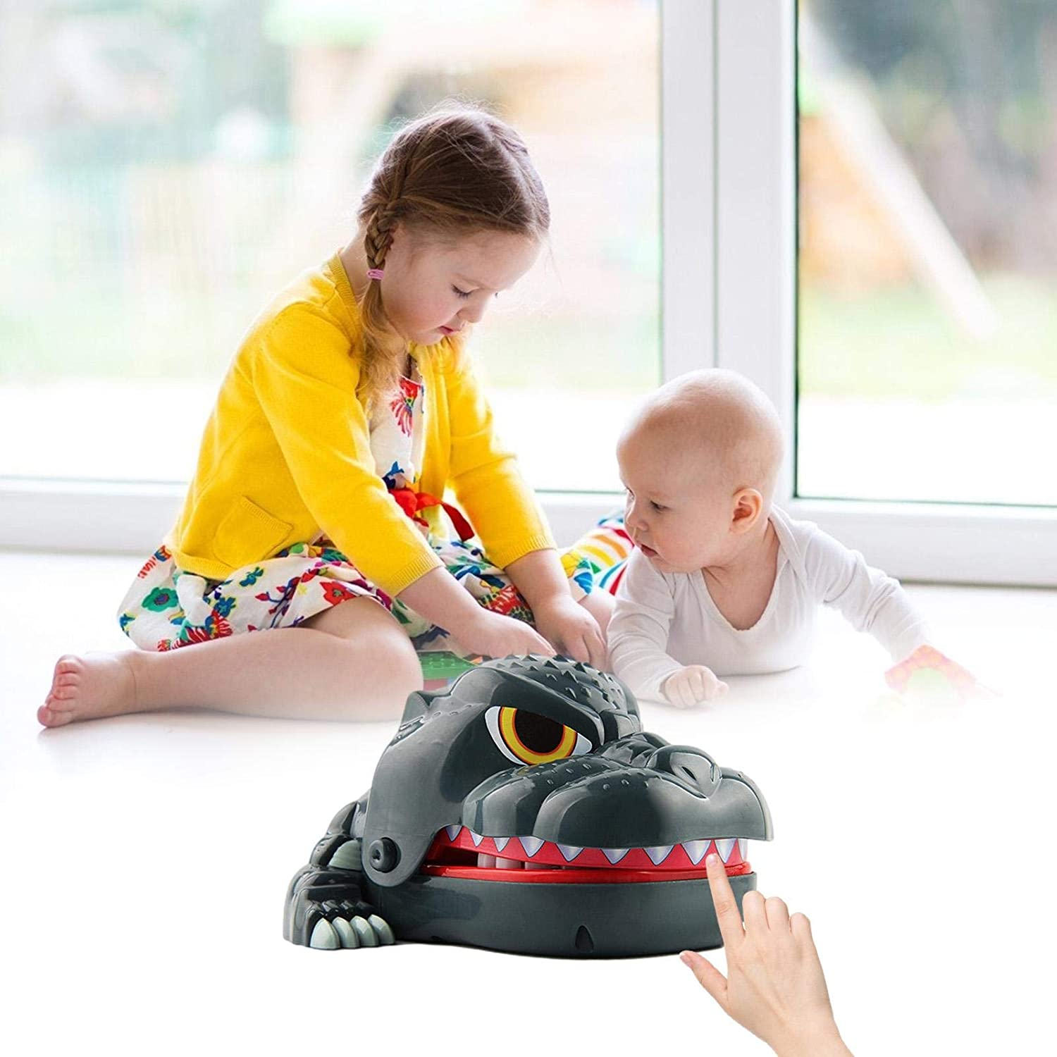 Huaxingda Childrens Adventure Toys Funny Toy Sound Snapping Family Challenge Game Kids Push Teeth Toy Plastic Bite Finger Toy Dinosaur