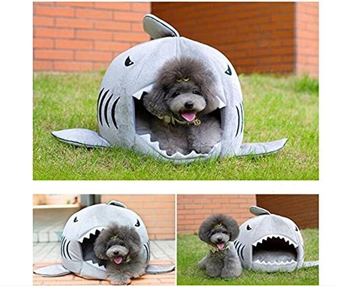 HAPPYX Cama Suave de Perros en Forma de Tiburón Casa de Mascotas con Cojín Extraíble, Cálido Cachorro Conejo Cama Sofá para Gatos y Perros, ...