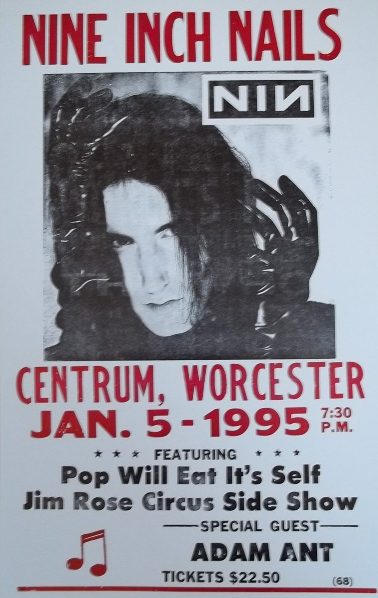 Amazon.com: Nine Inch Nails w/ Adam Ant Playing in Worcester Poster ...