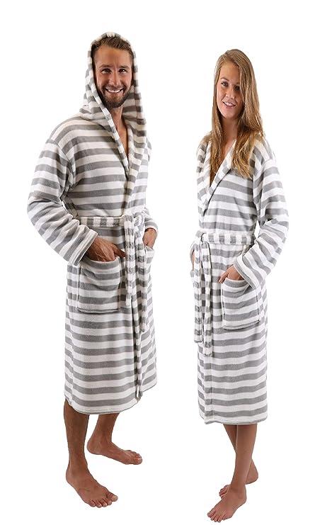 BETZ Albornoz Bata de baño Sauna con Capucha para Mujeres y Hombres ROM de Color Gris