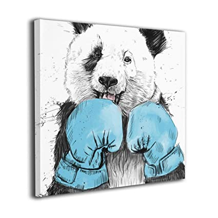 Frameless Colored Panda Canvas Cartoon Art Painting Office Home Wall Decoration
