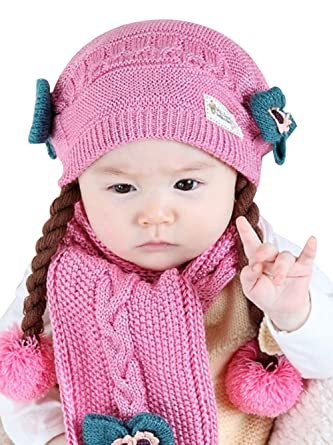 9b092f2751f Amazon.com  ZEHAT Lovely Bow Braided Wool Crochet Cap Scarf Baby Children Girl  Winter Knitted Earflap Cozy Beanie Infinity Circle Loop Scarf  Clothing