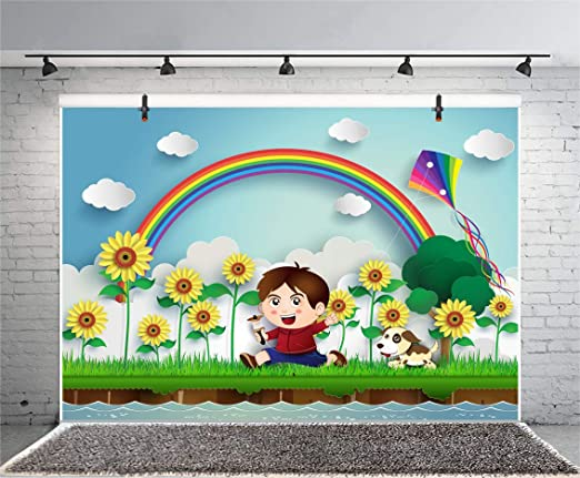 10x15 FT Photo Backdrops,Dandelions Flowers Circles Vibrant Spring Sun Rays Kids Girls Baby Nursery Concept Background for Baby Shower Birthday Wedding Bridal Shower Party Decoration Photo Studio