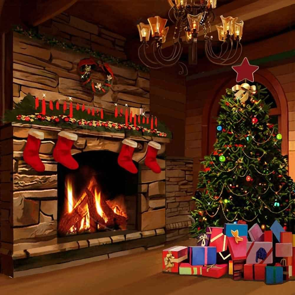Christmas Backdrop Fireplace Colorful Decoration Photo Backdrop Themed Party Background XCGE823