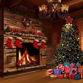 Amazon.com: GladsBuy Christmas Fireplace 10' x 10' Computer ...