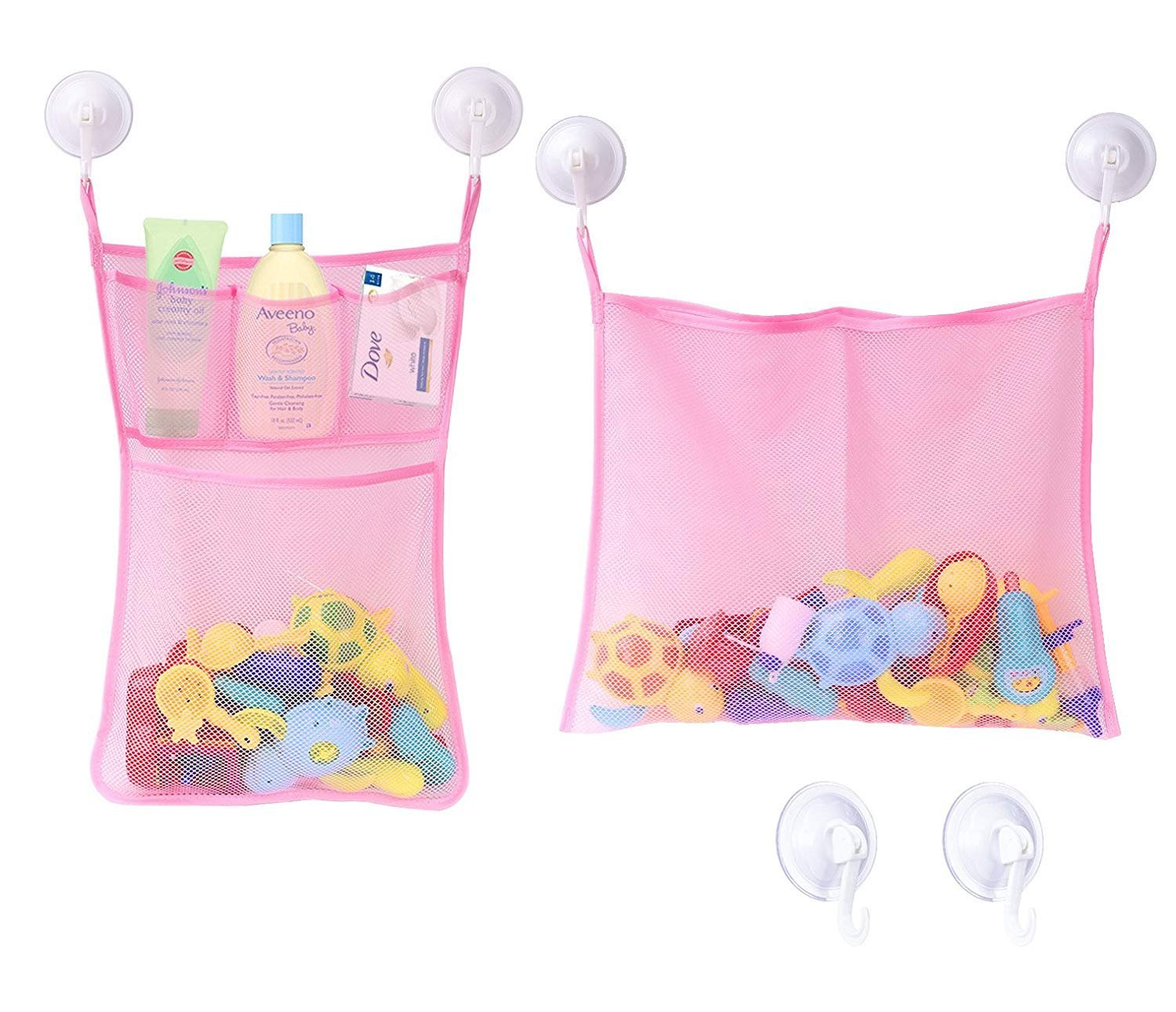 Jayden78 2X Bath Toy Storage Organizer Mesh For Toddlers & 1 Years Old , 4 Ultra Strong Hooks& 2x3M Sticker, Toy Storage Green & Free From BPA Jayden Revival Technology Co. ltd