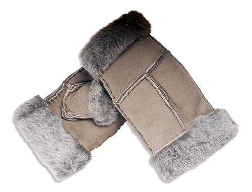 Nordvek - Mitones para mujer - 100% piel de oveja auténtica - # 309-100
