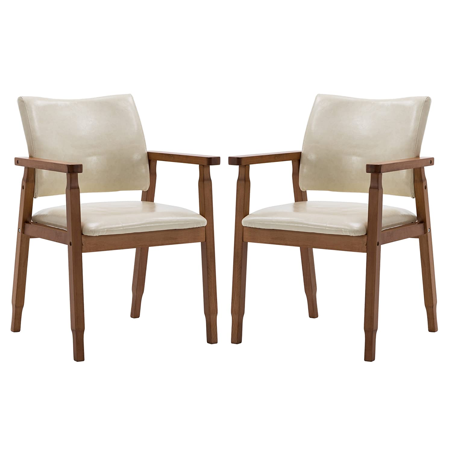 NOBPEINT Mid-Century Dining Side Chair with Faux Leather Seat in Tan, Arm Chair in Walnut,Set of 2