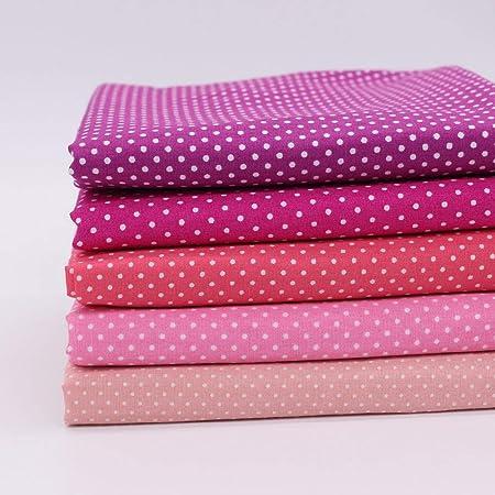 IDEA HIGH Tela de algodón de Punto Puro, 5 Piezas, Tela de algodón para Coser o Hacer Manualidades, Tela Tejida de Tela Tejida de retales: Amazon.es: Hogar