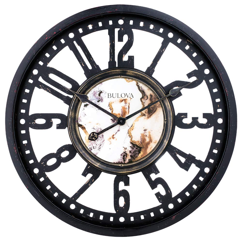 Bulova C4871 Station Master Wall Clock Black