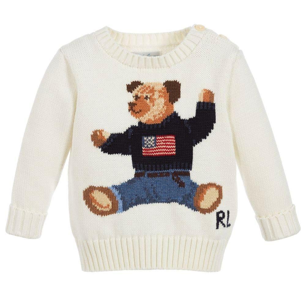 1701c517729c7 Amazon.com  Ralph Lauren Baby Boys Intarsia Bear Wearing Flag Sweater (3  Months)  Baby