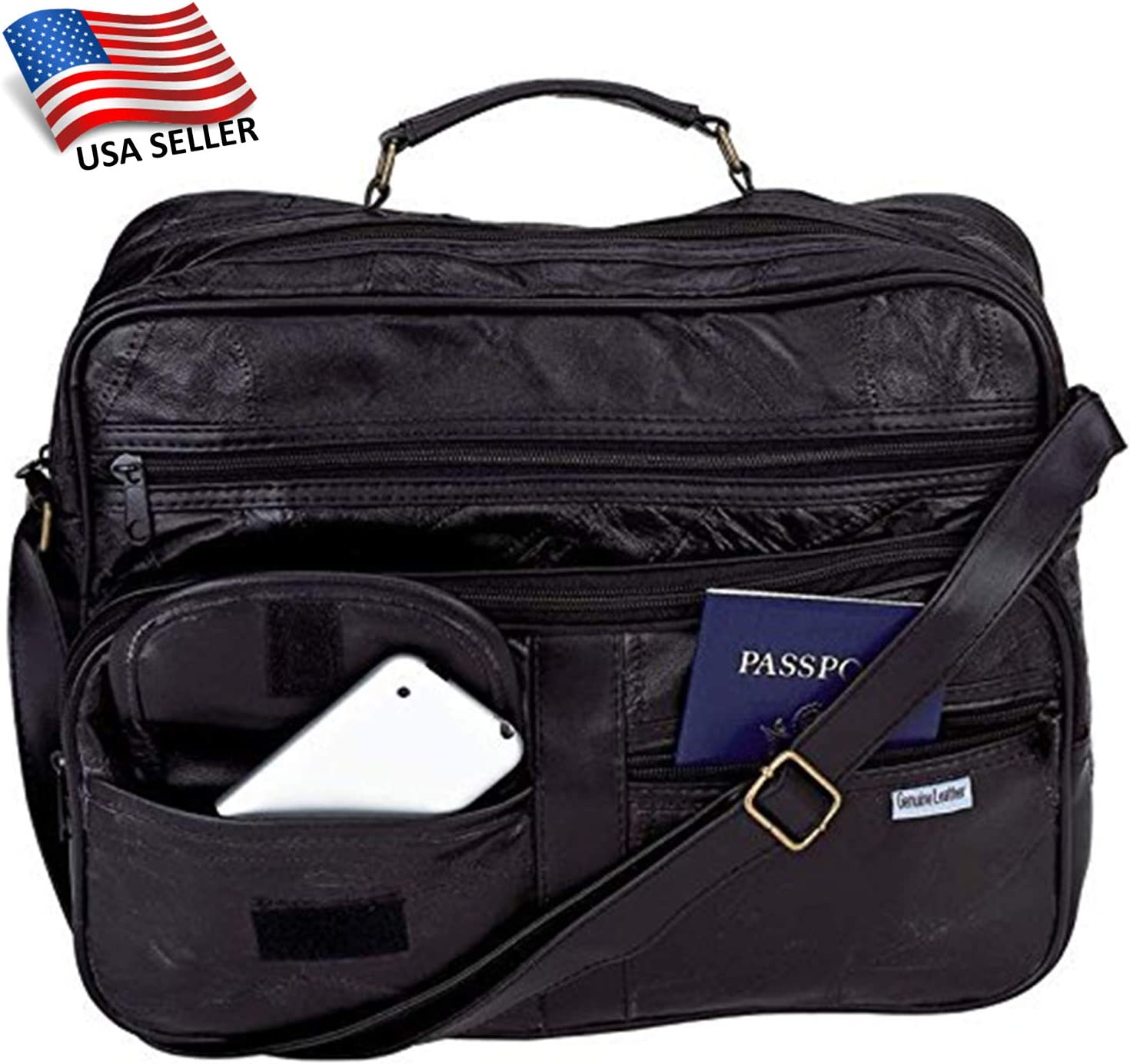 """Real Leather Briefcase For Men Shoulder Bag14/"""" Laptop Handbag Attache Satchel"""