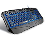 Tecknet X702 Gryphon Gaming Keyboard with 3 Color LED Backlit, 10 Programable Keys, 12 Multimedia Keys, 19 Anti-Ghosting keys (Black)