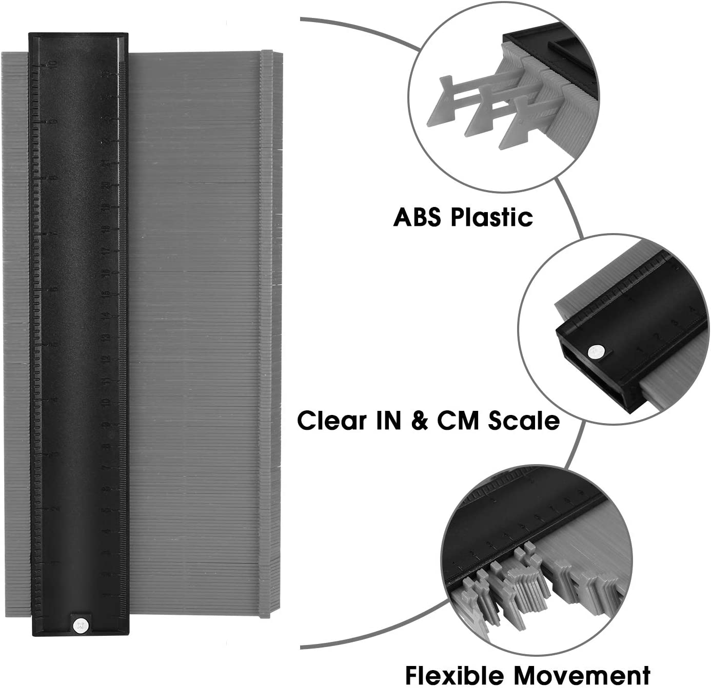 Master Outline Plastic Measuring Ruler Copy Irregular Shapes Tool for Corners Woodworking KEGOUU Contour Gauge Duplicator with Lock 10inch 5inch Contour Profile Gauge Tool with Lock
