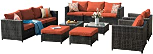 XIZZI Patio Sets,Big Size Outdoor Patio Furniture 12 Pcs, All Weather PE Rattan Furniture with 4 Pillows and and Furniture Covers,No Assembly Required (12 Pcs Big Size, Brown/Red)