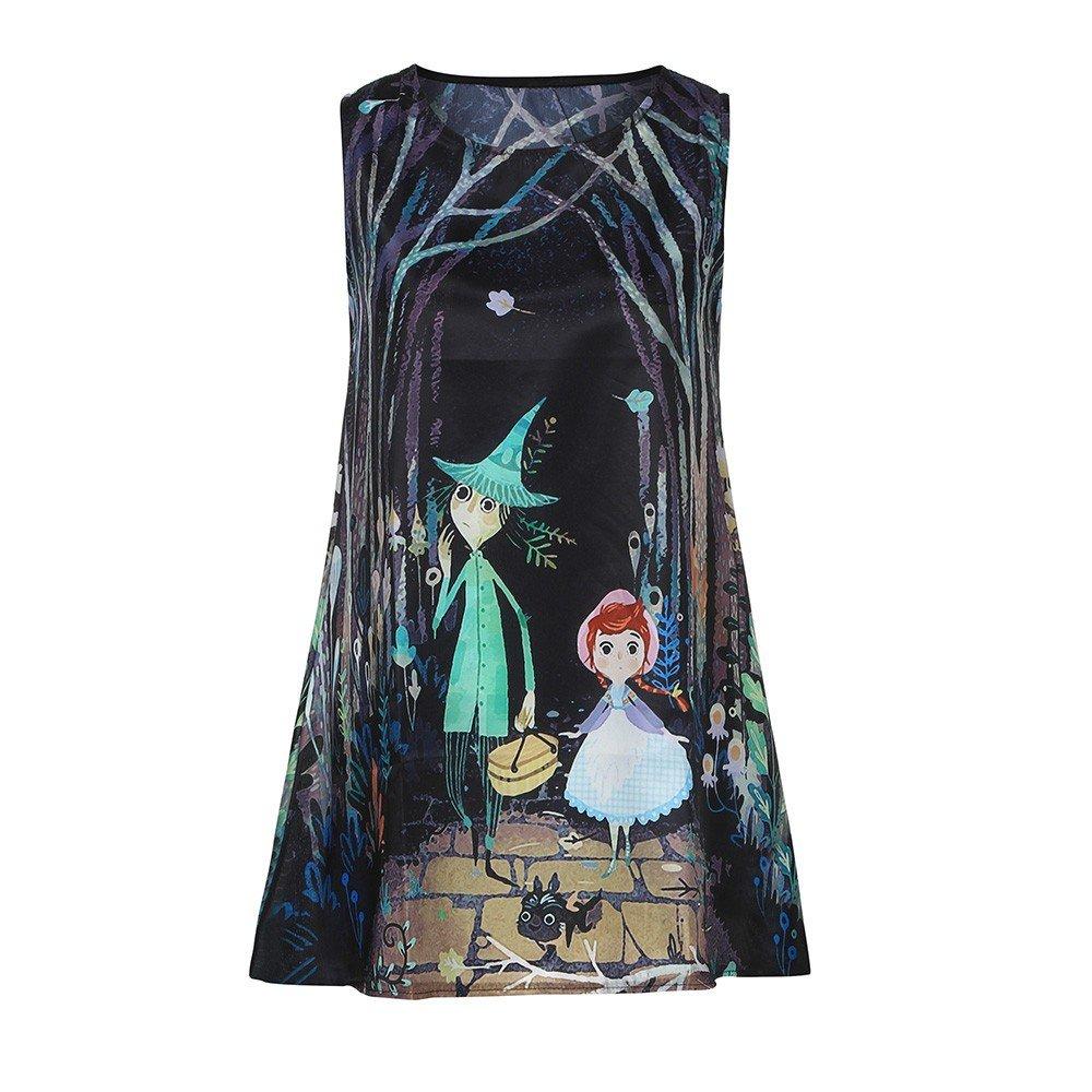 Women Short Dress Boho 3D Floral Print A-Line Vintage Loose Beach Party Prom Tank Mini Sundress (Black, XL)