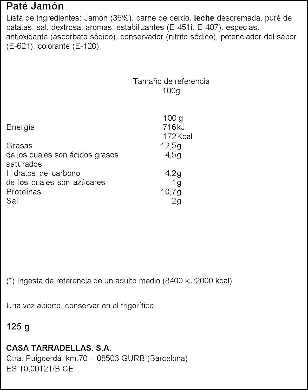 Paté jamón - Casa Tarradellas - 125 g: Amazon.es: Alimentación y ...