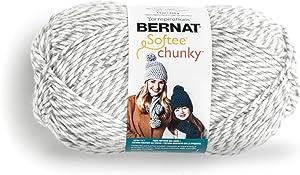 Bernat Big Ball Chunky Solid Yarn, 14oz, Super Bulky 6 Gauge, 100% Acrylic - Grey Ragg - Machine Wash & Dry