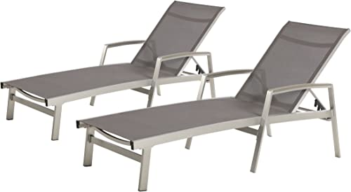 Christopher Knight Home 305144 Joy Outdoor Mesh and Aluminum Chaise Lounge Set of 2 , Gray