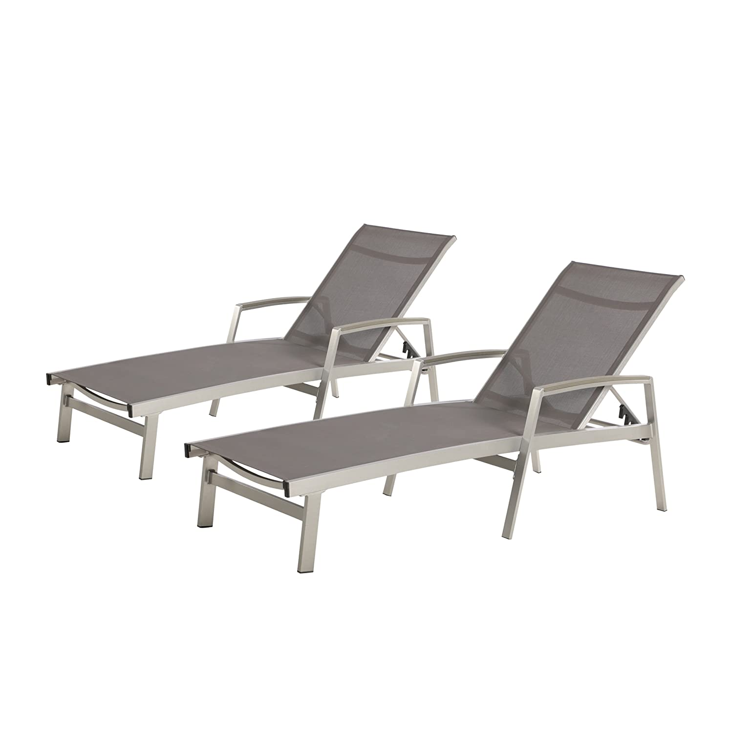 Amazon com great deal furniture joy outdoor mesh and aluminum chaise lounge set of 2 gray garden outdoor