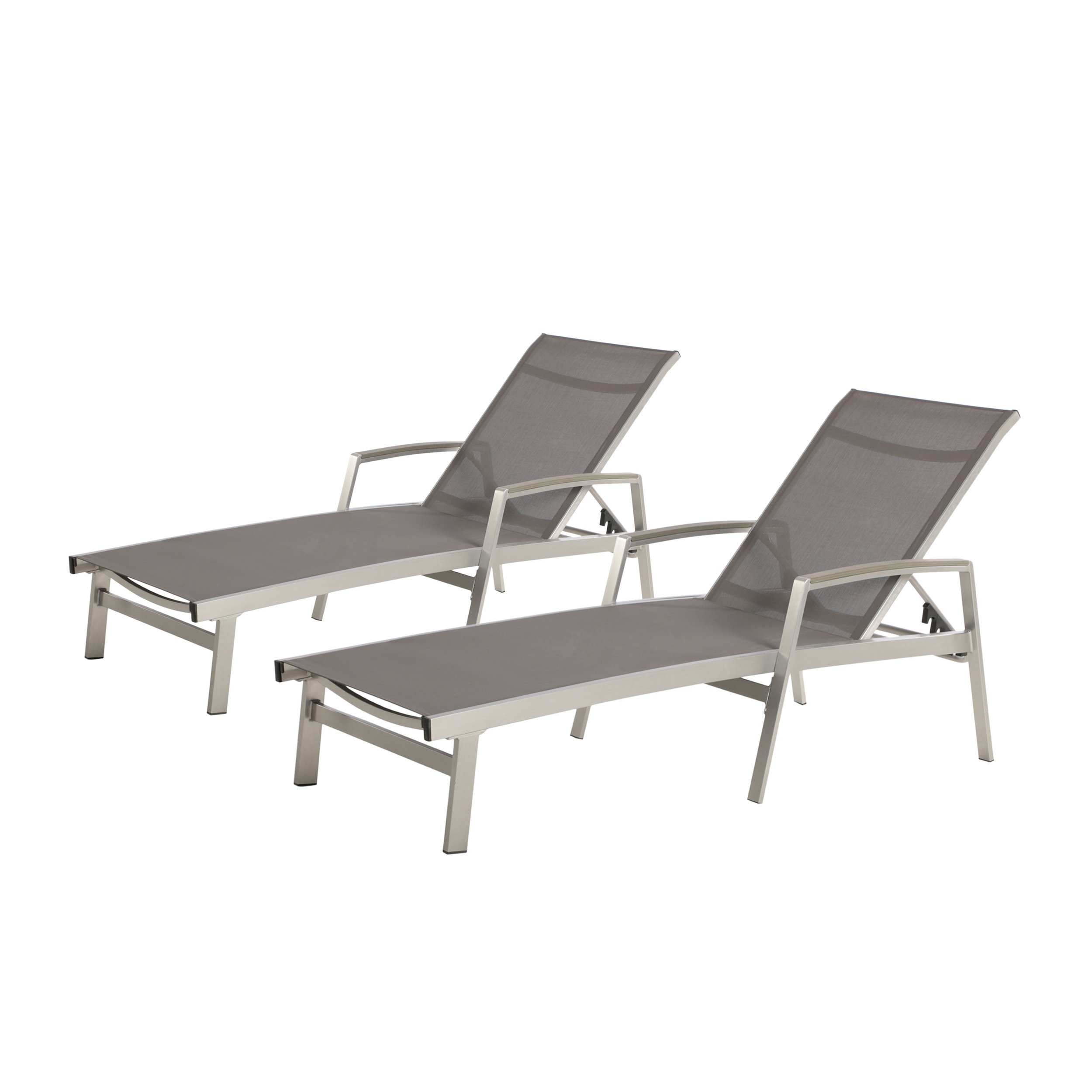 Joy Outdoor Mesh and Aluminum Chaise Lounge (Set of 2), Gray