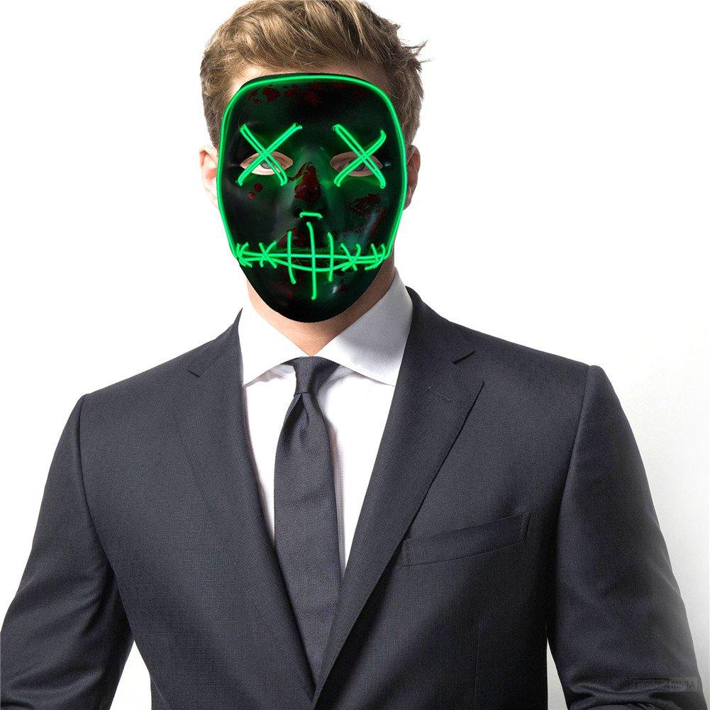Shantan LED Light Up Flashing Mask Skeleton Shaped Halloween Rave ...