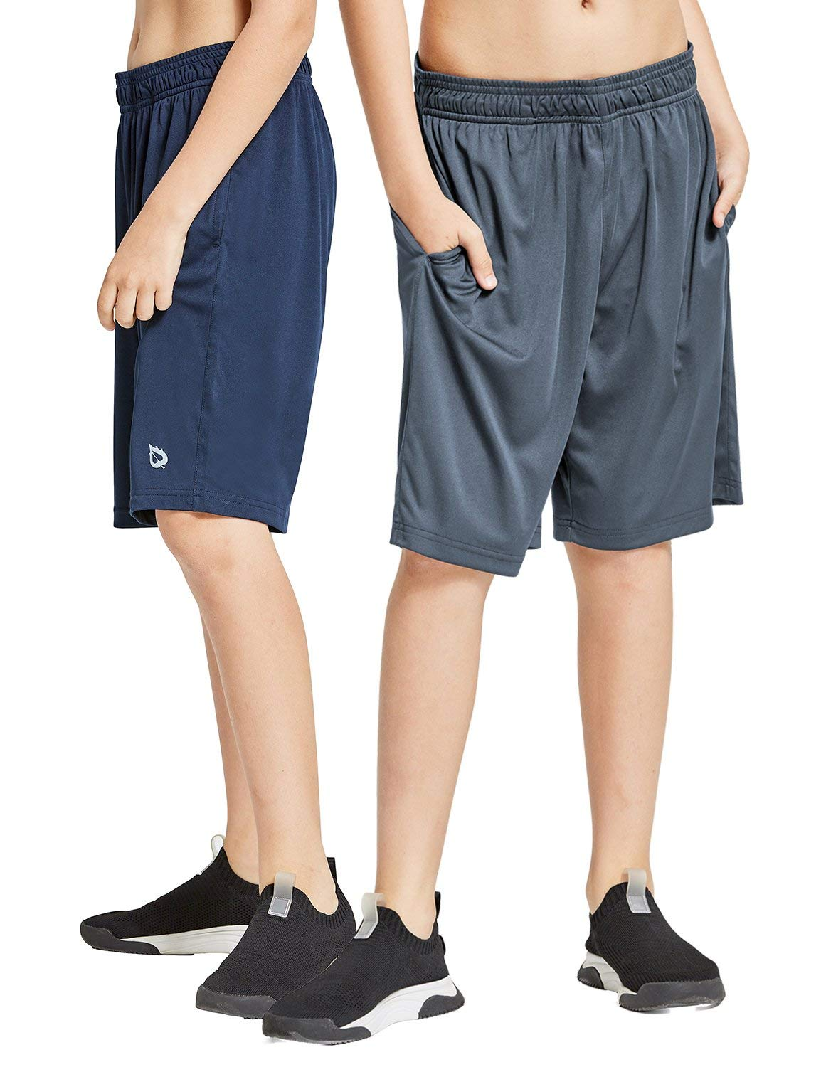 Baleaf Youth Boys' Athletic Running Shorts Pockets Tennis Volleyball Shorts Pack of 2 Navy/Gray Size M by Baleaf