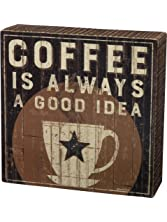 "Primitives by Kathy"" Coffee is A Good Idea Box Sign, 6"" x 6"", Rustic"