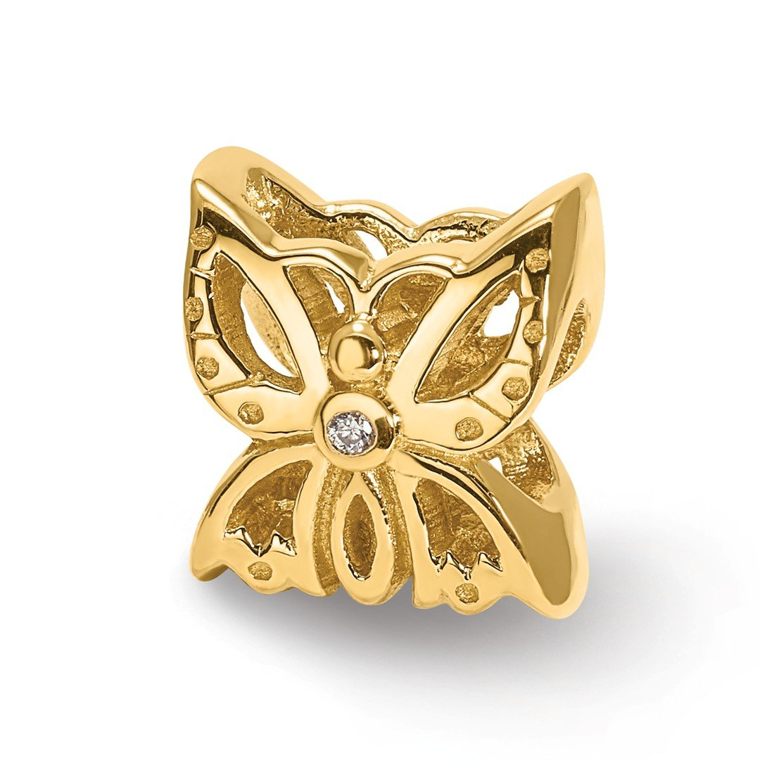 ICE CARATS 14k Yellow Gold Charm For Bracelet .015ct. Diamond Butterfly Bead Nature Animal Fine Jewelry Ideal Mothers Day Gifts For Mom Women Gift Set From Heart