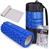 Foam Roller for Muscle Massage- Super Effective Exercise Equipment- Helps with Physical Therapy/Myofascial Release/Cramp Relief/Tight Muscles Includes: Cooling Towel, Carry Case FayTOP