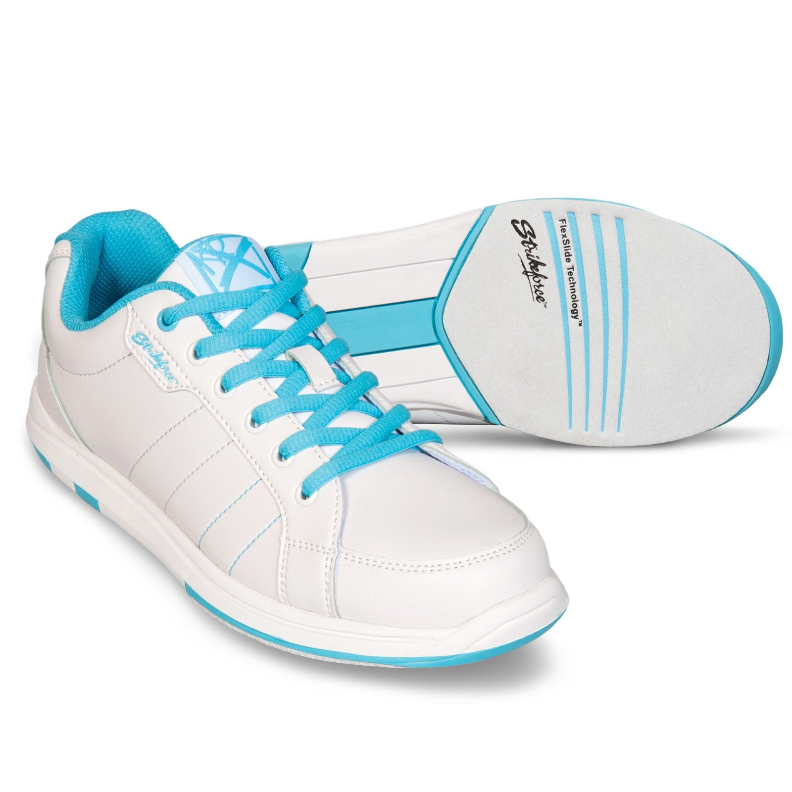 Brunswick Women's Satin Wide Bowling Shoes, White/Aqua, 8.0
