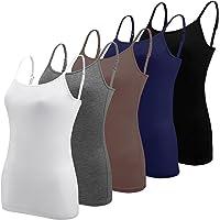 BQTQ 5 Piezas Camisetas de Tirantes Mujer Basicas con Tirantes Ajustables Camisetas sin Mangas para Mujer