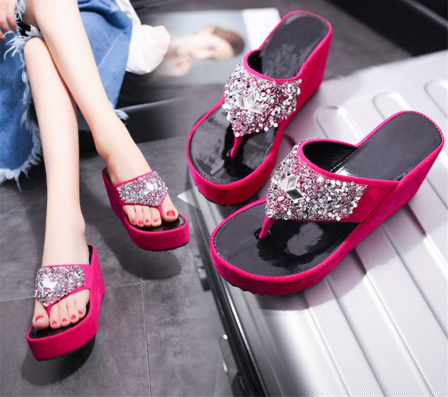 ulucky wait Womens flip-Flops with Thick-Soled Platform Shoes Sequins Slippers Outdoor Beach Slippery Foot Drag Sandals