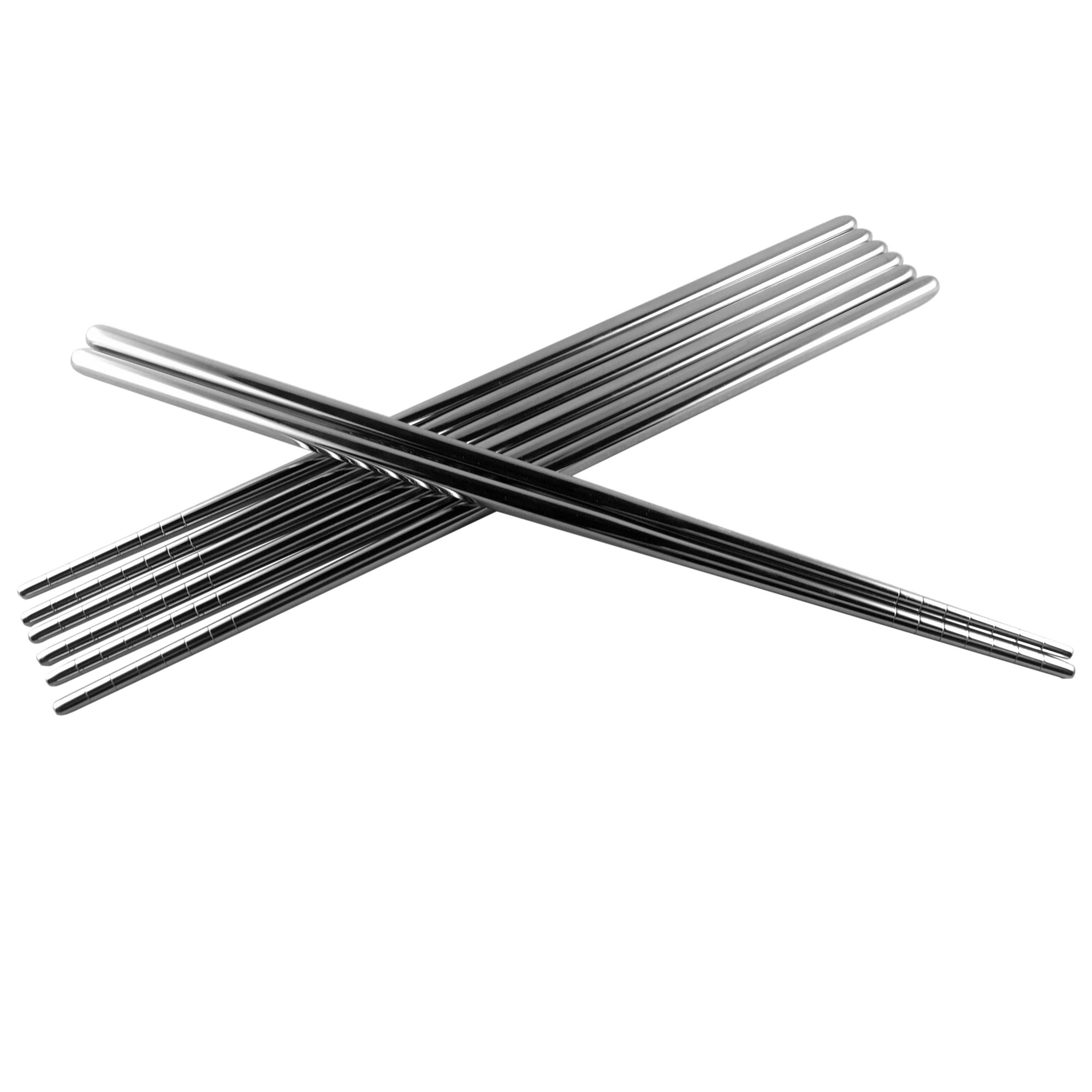 Premium Stainless Steel Korean Chopsticks - Non-Slip Grooves - Strong & Lightweight - 4 Pairs (Recommended)