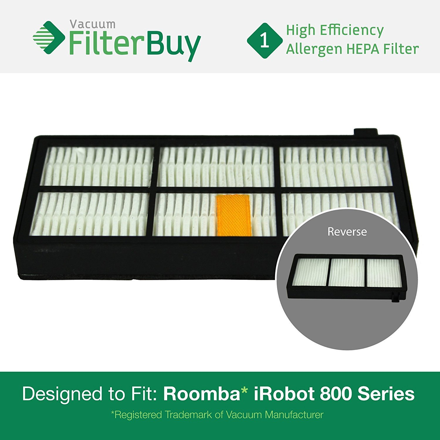 iRobot Roomba 800 900 Series AeroForce Replacement Filter. Designed by FilterBuy to replace all iRobot Roomba 800 & 900 Series Vacuum Filters