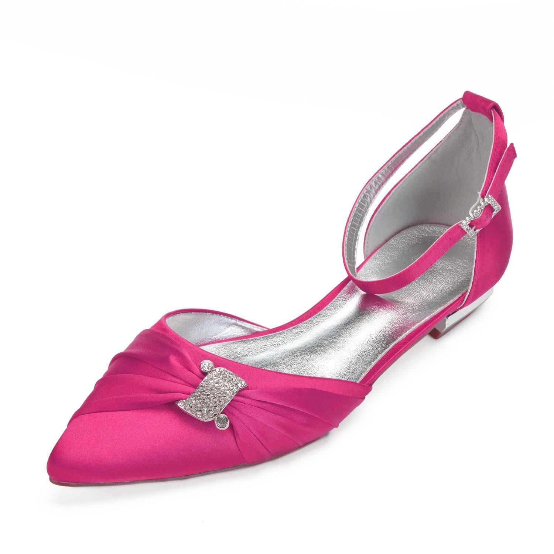 MarHermoso Damen Elegant Strap Ballerinas Spitze Zehen Ankle Strap Elegant Strass Kleine Flache Brautschuhe Rose 014248