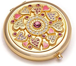 Romantic Gifts for Her   Jinvun Compact Purse Mirror   24K Gold Electroplate Round 2 Sided  Clear Reflection With Magnification & Diamond Locking Clasp   Freshen Up Makeup & Eliminate Mishaps