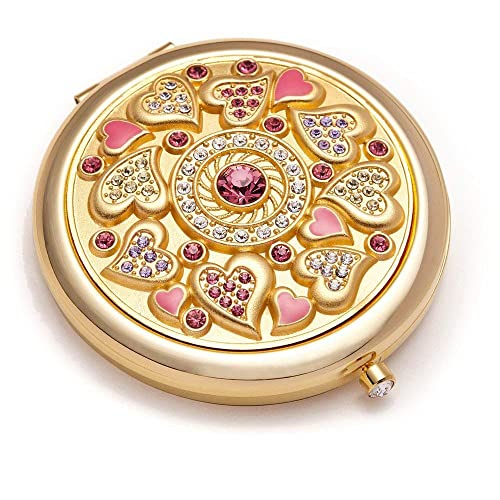 Romantic Gifts for Her Jinvun Compact Purse Mirror 24K Gold Electroplate Round 2 Sided Clear Reflection With Magnification Diamond Locking Clasp Freshen Up Makeup Eliminate Mishaps