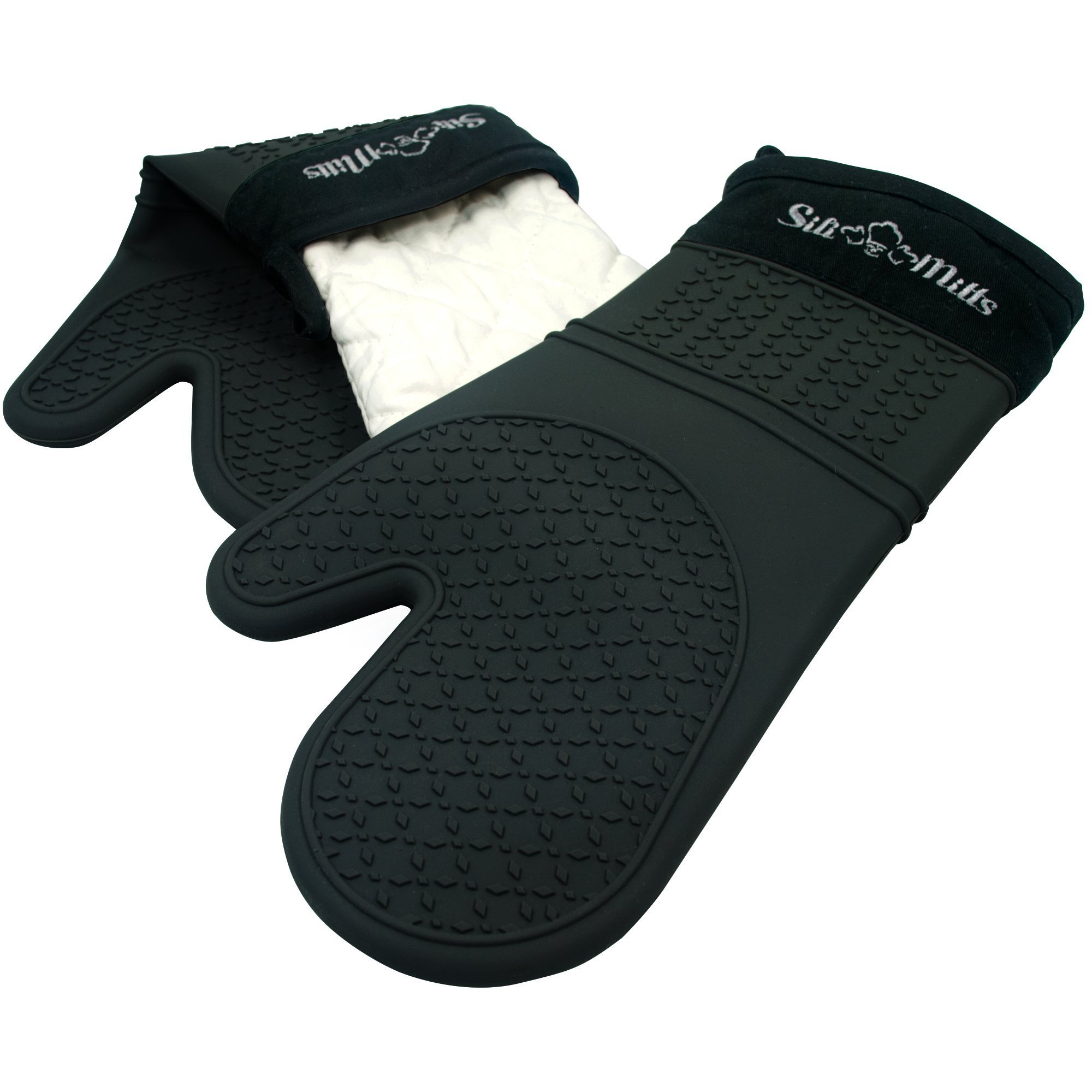 Black Silicone Oven Hot Mitts - 1 Pair of Extra Long Professional Heat Resistant Pot Holder & Baking Gloves - Food Safe, BPA Free FDA Approved With Soft Inner Lining by Frux Home and Yard (Image #3)