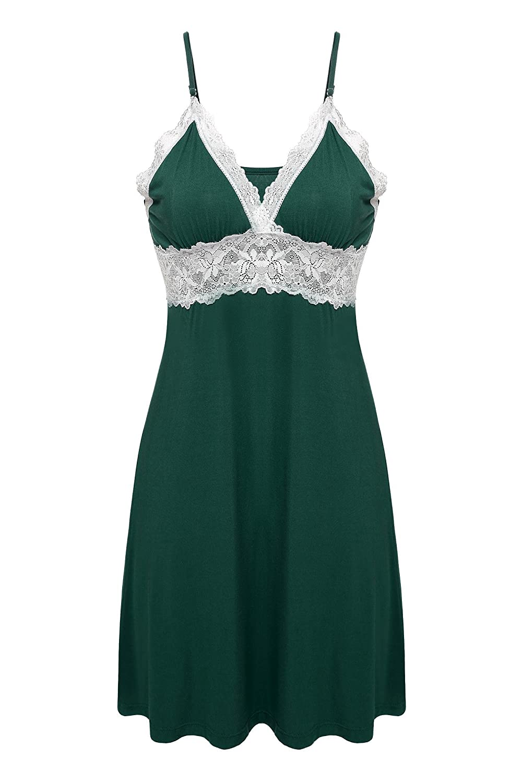 Ekouaer Womens Lace Full Slip Sleepwear Chemise Lounge Dress Adjustable Strap EK001409#