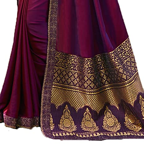 8ef16c0357135 Macube Women s Wine Color Silk Saree With Jaquard Blouse Piece  Amazon.in   Clothing   Accessories