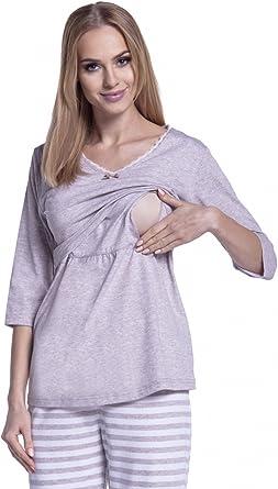 Happy Mama Femme Pyjama De Nuit Nuisette Grossesse Allaitement à Rayures 394p Beige 42 44 Xl Amazon Fr Vêtements Et Accessoires