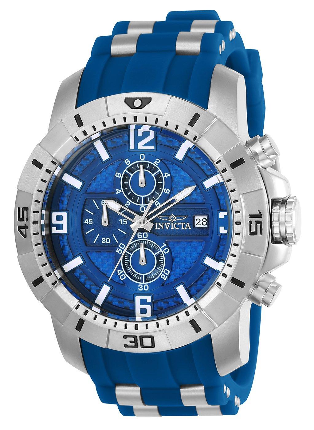 Invicta Men's 'Pro Diver' Quartz Stainless Steel Casual Watch, Color:Blue (Model: 24963)