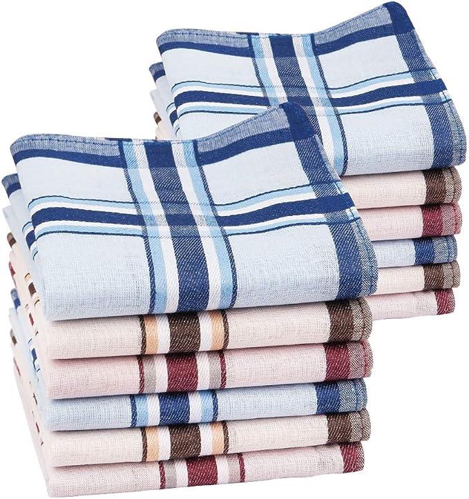 HOULIFE Homme Mouchoirs Tissu en Pur Coton 40 40cm Carreaux Classique pour Usage Quotidien Lot de 6 Pi/èces